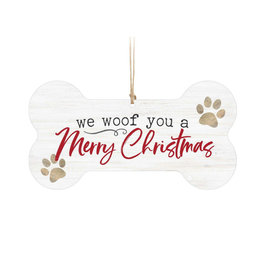 ORN0202 WE WOOF YOU A MERRY CHIRSTMAS ORNAMENT - 5.25X2.75