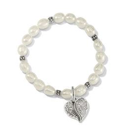 BRIGHTON JF8003 Ornate Heart Pearl Stretch Bracelet