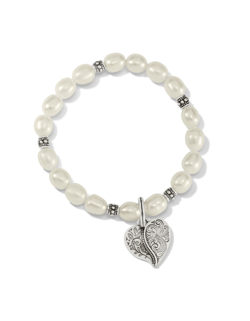 BRIGHTON JF8003 Ornate Heart Pearl Stretch Bracelet