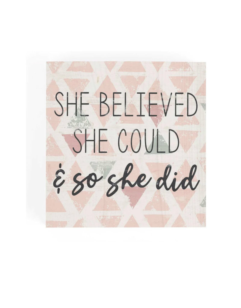 SBB0096 SHE BELIEVED SHE COULD AND SO SHE DID WORD BLOCK - 3.5X3.5