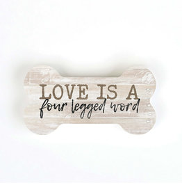 SHP0037 LOVE IS A FOUR LEGGED WORD SMALL SHAPE  - 5.25X2.75