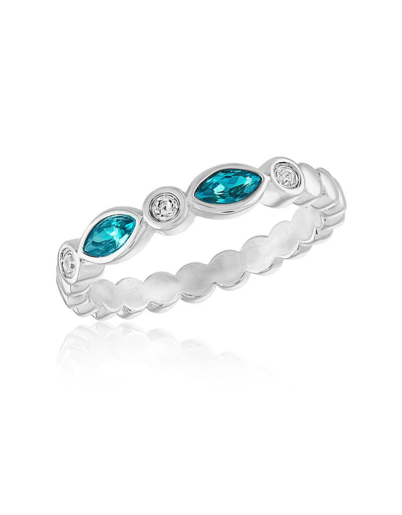 Blue Diamond Endless Oval Stack Ring