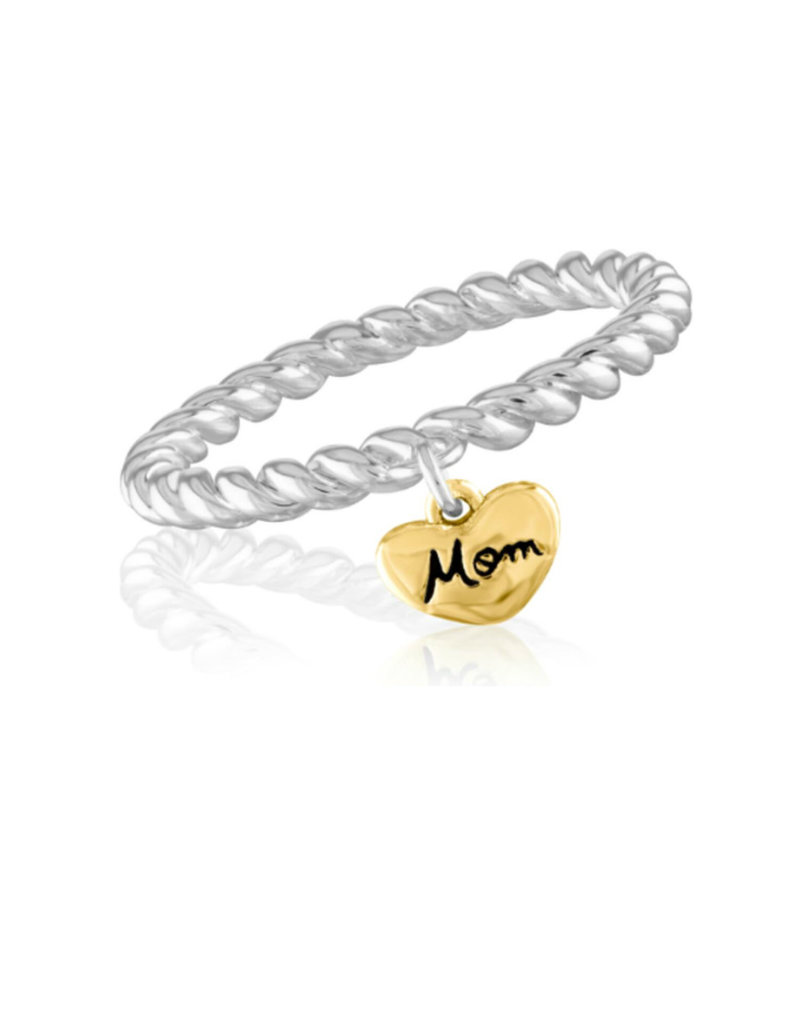 """Gold Heart """"Mom"""" Stack Ring"""