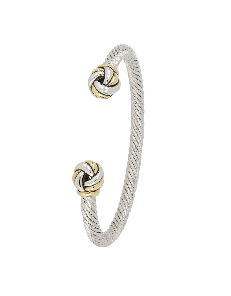 JOHN MEDEIROS B5283-A000 Infinity Knot Two Tone Ends Wire Cuff Bracelet