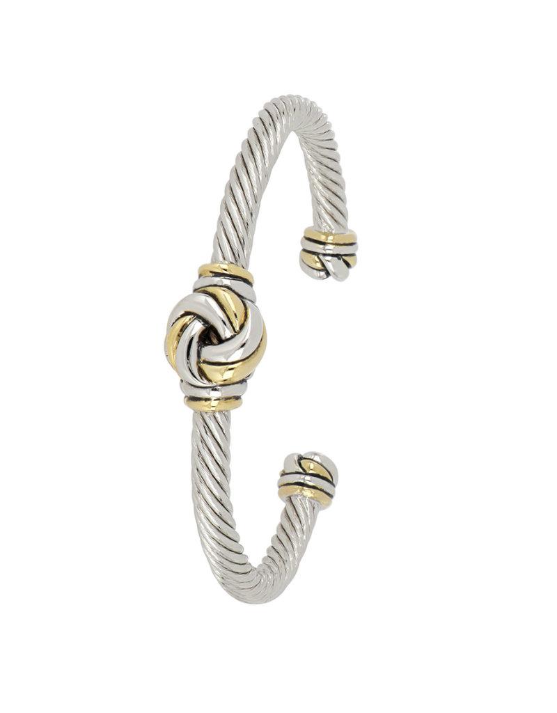 JOHN MEDEIROS B5284-A000 Infinity Knot Two Tone Center Wire Cuff Bracelet