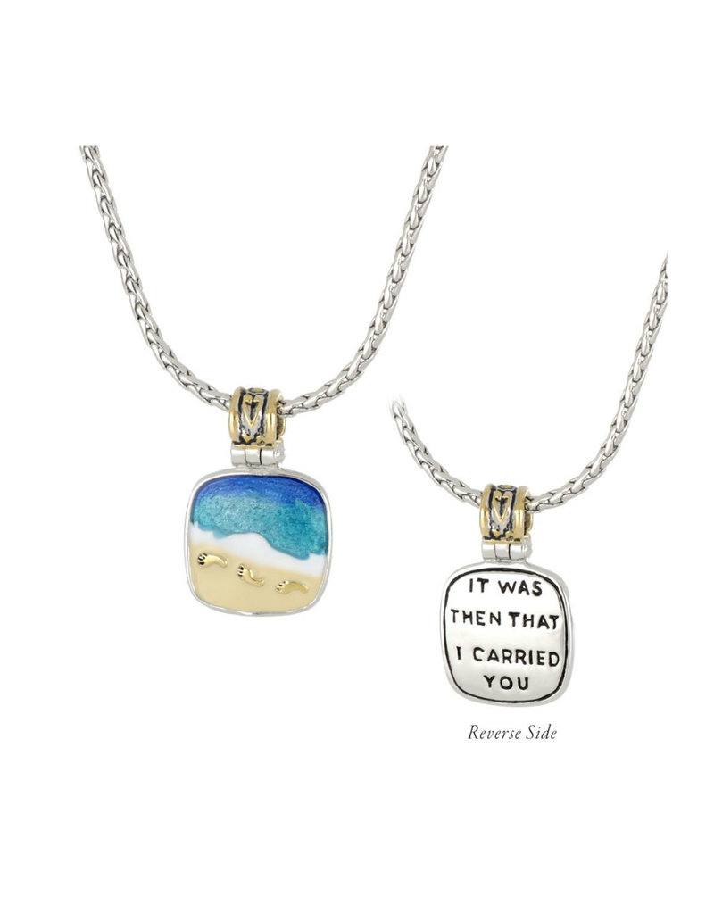 JOHN MEDEIROS K5228-A003 Celebration Memories Footprints in the Sand Pendant Necklace