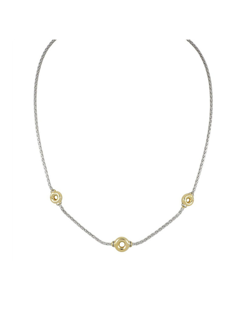 JOHN MEDEIROS N5179-A003 Ciclo D'Amor Petite Two Tone 3 Station Necklace