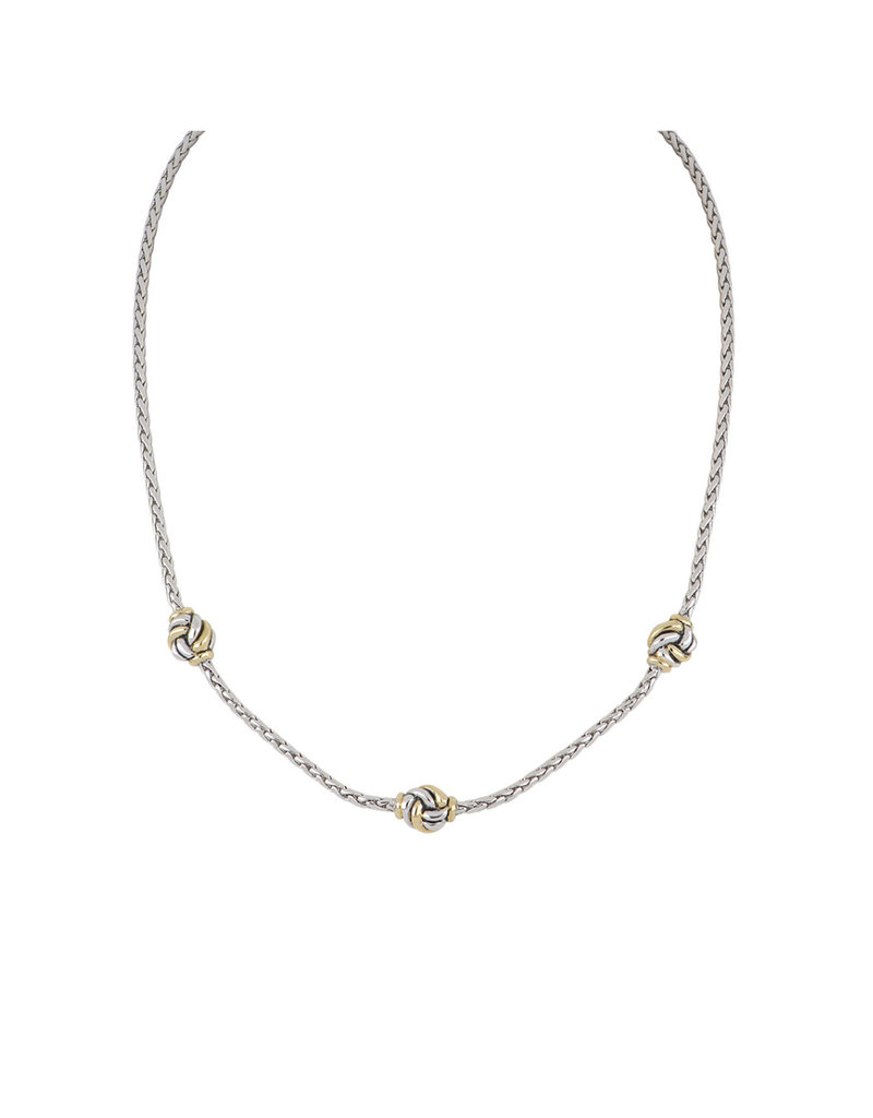 JOHN MEDEIROS N5281-A003 Infinity Knot 3 Station Two Tone Necklace
