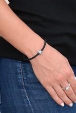 BSGKASIBL: Single Karma Silver Bracelet: Sterling Silver plated, Black Leather