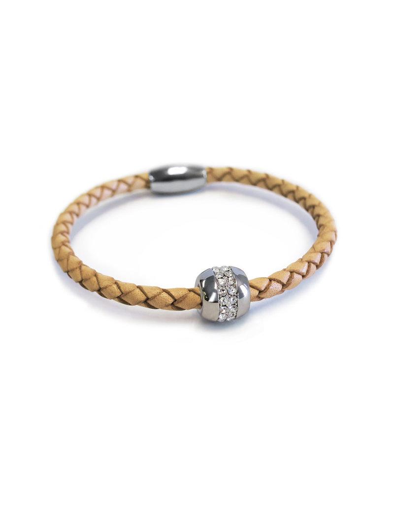 BSGKASICA: Single Karma Silver Bracelet: Sterling Silver plated, Camel Leather
