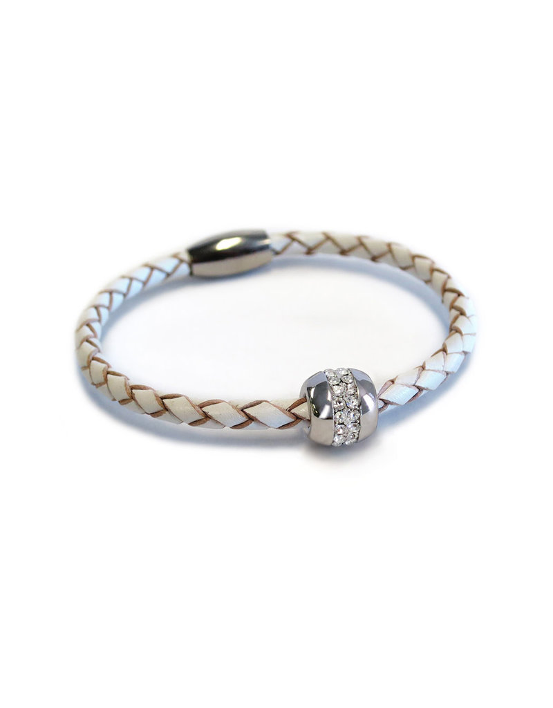BSGKASIWH: Single Karma Silver Bracelet: Sterling Silver plated, White Leather