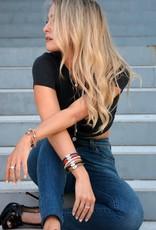 BSGSEGOBL: Sapphire Evil Eye Bracelet, 18k Gold plated, Black leather