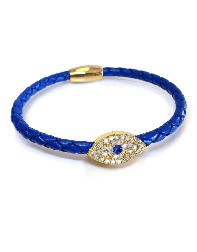 BSGSEGOCO: Sapphire Evil Eye Bracelet, 18k Gold plated, Cobalt leather