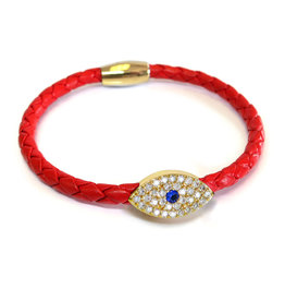 BSGSEGORE: Sapphire Evil Eye Bracelet, 18k Gold plated, Red leather