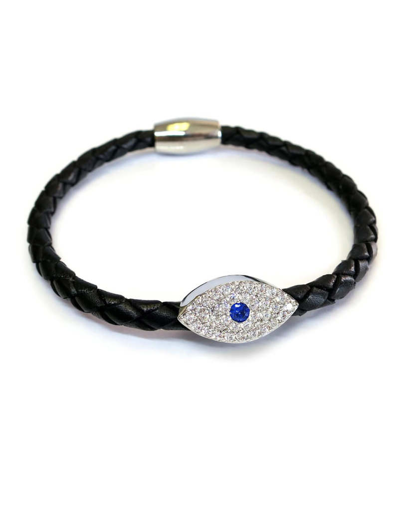 BSGSESIBL: Sapphire Evil Eye Bracelet, Sterling Silver plated, Black leather