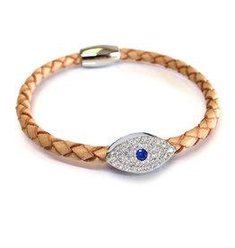Liza Schwartz BSGSESICA: Sapphire Evil Eye Bracelet, Sterling Silver plated, Camel leather