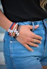 BSGSESICA: Sapphire Evil Eye Bracelet, Sterling Silver plated, Camel leather