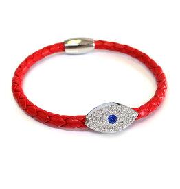 Liza Schwartz BSGSESIRE: Sapphire Evil Eye Bracelet, Sterling Silver plated, Red leather