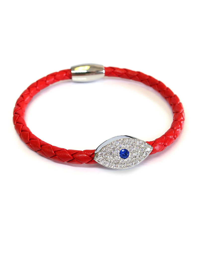 BSGSESIRE: Sapphire Evil Eye Bracelet, Sterling Silver plated, Red leather