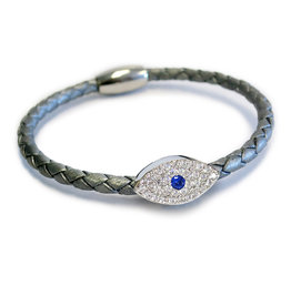 Liza Schwartz BSGSESISI: Sapphire Evil Eye Bracelet, Sterling Silver plated, Silver leather