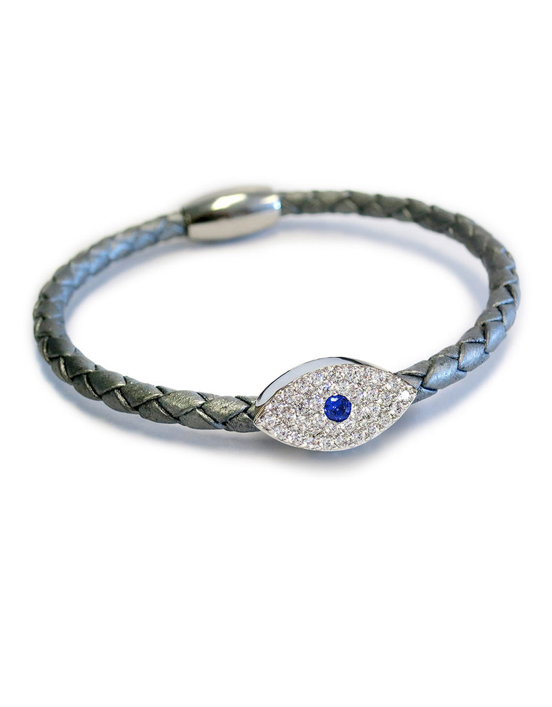 BSGSESISI: Sapphire Evil Eye Bracelet, Sterling Silver plated, Silver leather