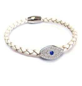 Liza Schwartz BSGSESIWH: Sapphire Evil Eye Bracelet, Sterling Silver plated, White leather