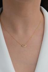 """Pave Evil Eye Necklace, 18K Gold over Sterling Silver, CZ, 16""""- 18"""""""