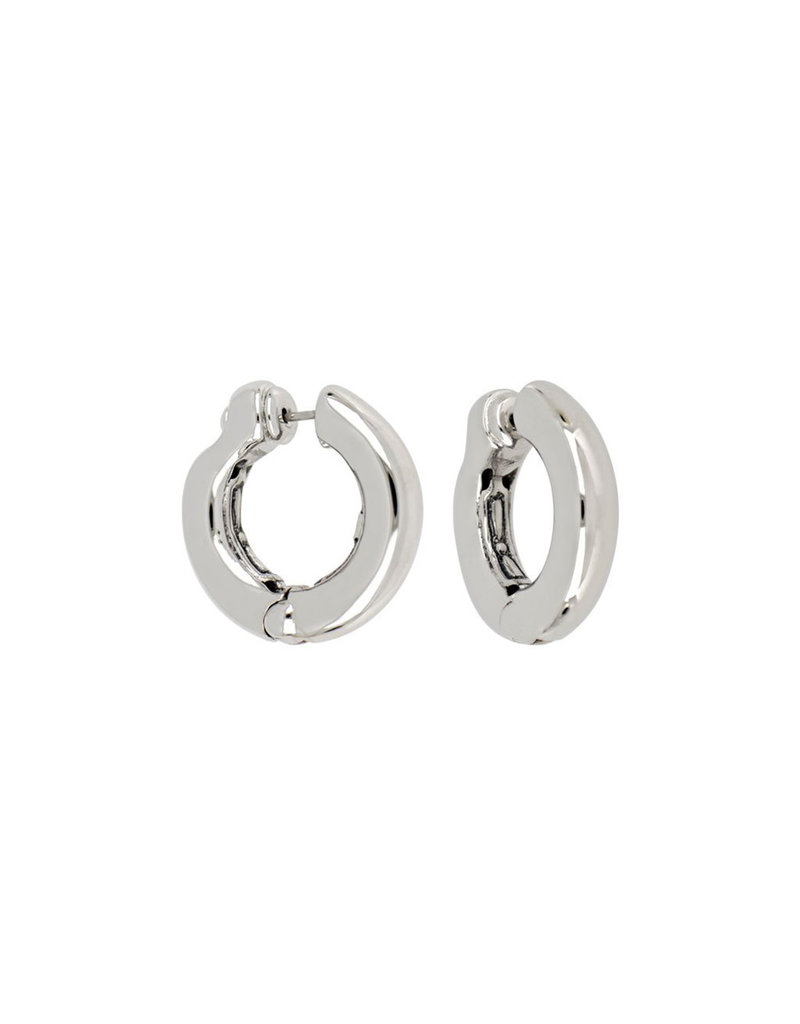 JOHN MEDEIROS G5188-R000 Ciclo D'Amor Small Rhodium Huggie Earrings