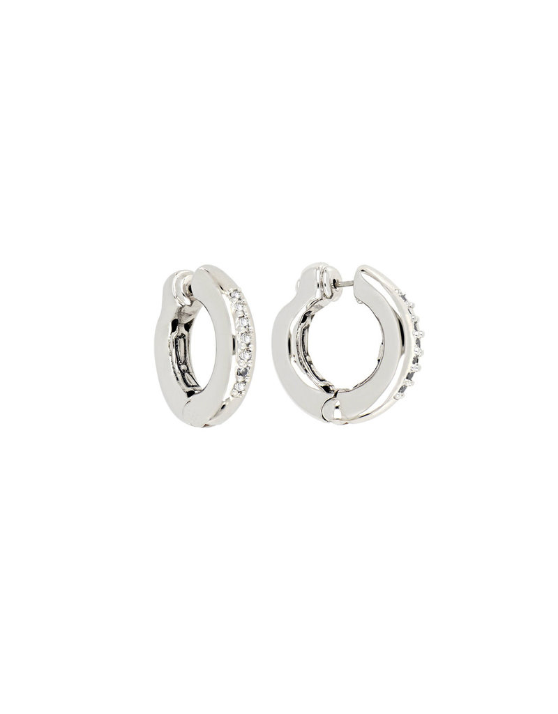 JOHN MEDEIROS G5187-RF00 Ciclo D'Amor Rhodium Pave Small Huggie Earrings