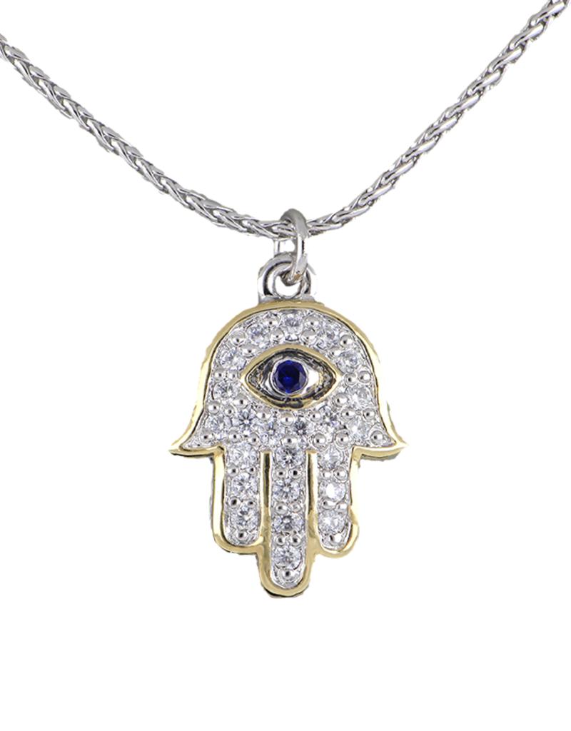 JOHN MEDEIROS K5290-AF23 Hamsa Hand BLUE EYE Pendant Necklace