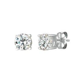 CRISLU Solitaire Brilliant Earrings Finished in Pure Platinum - 1.5 Carat