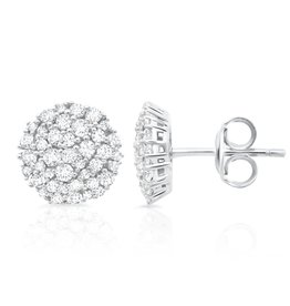CRISLU 9011558E00CZ Round Glisten Stud Earrings finished in Pure Platinum