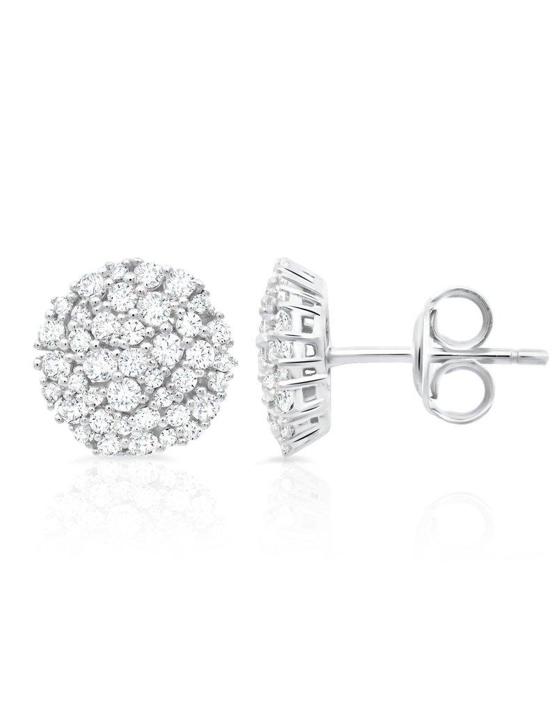 CRISLU 9011558E00CZ Round Glisten Stud Earrings finished in Pure Platinum