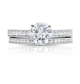 CRISLU 9011645R70CZ Brilliant Cut Ring Set Finished in Pure Platinum Size 7
