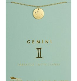 LUCKY FEATHER ZODIAC NECKLACE GOLD - GEMINI (MAY 21 - JUNE 20)