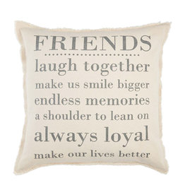 MUD PIE 41600511 FRIENDS WASHED CANVAS PILLOW