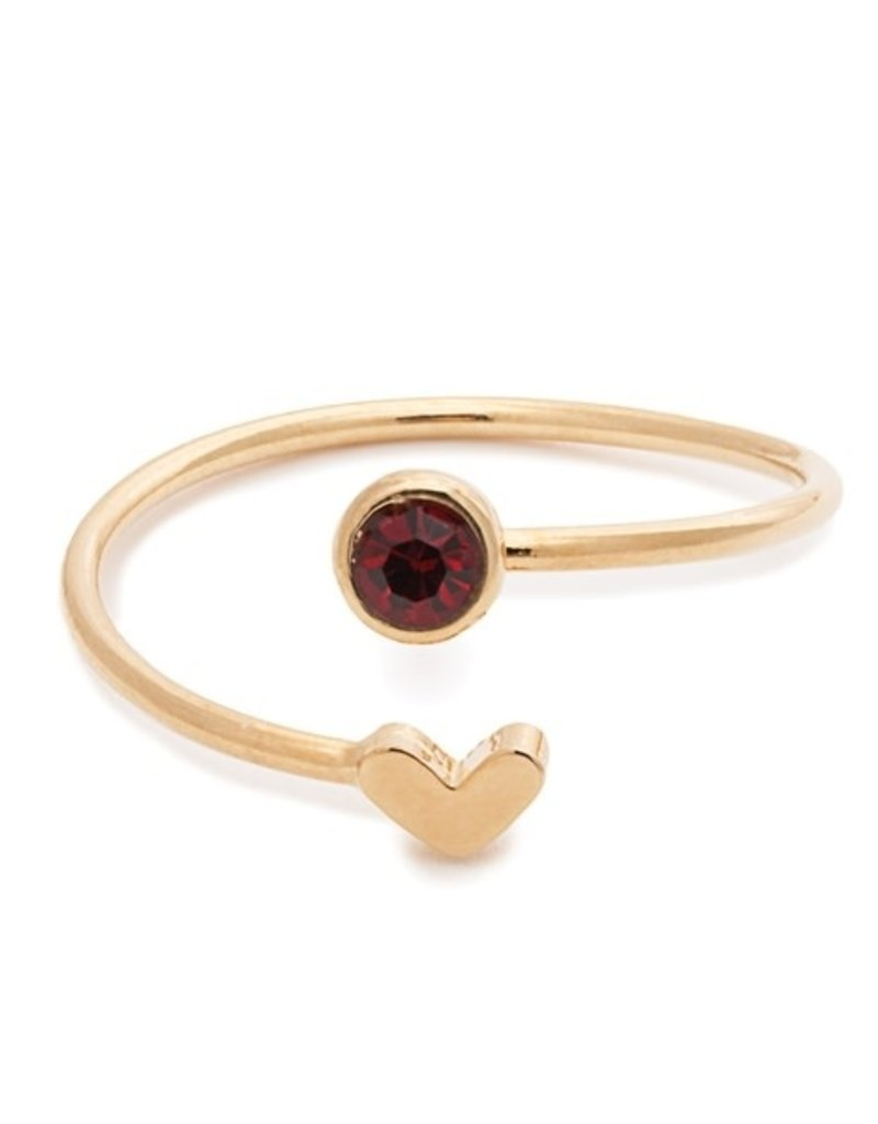 32177 gold heart garnet birthstone ring - January