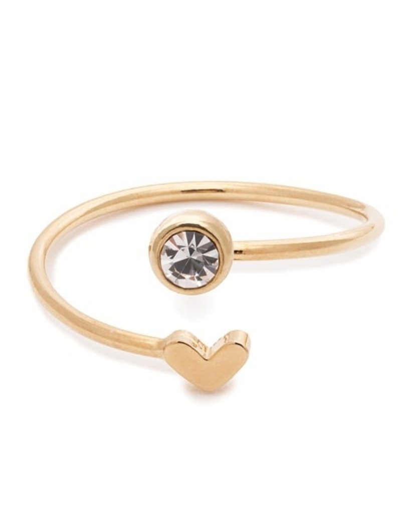 32180 gold heart crystal birthstone ring - April