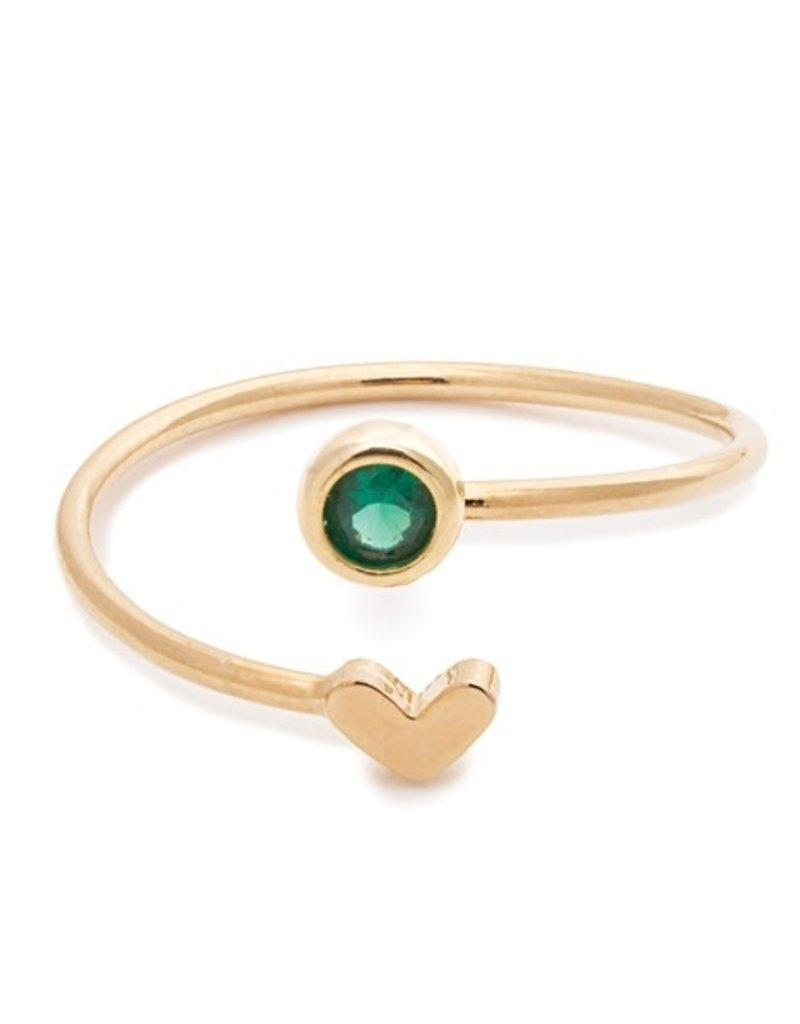 32181 gold heart emerald birthstone ring - May