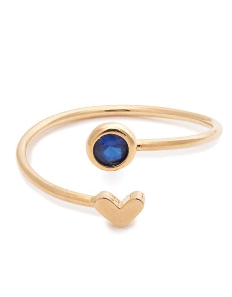 32185 gold heart sapphire birthstone ring - September