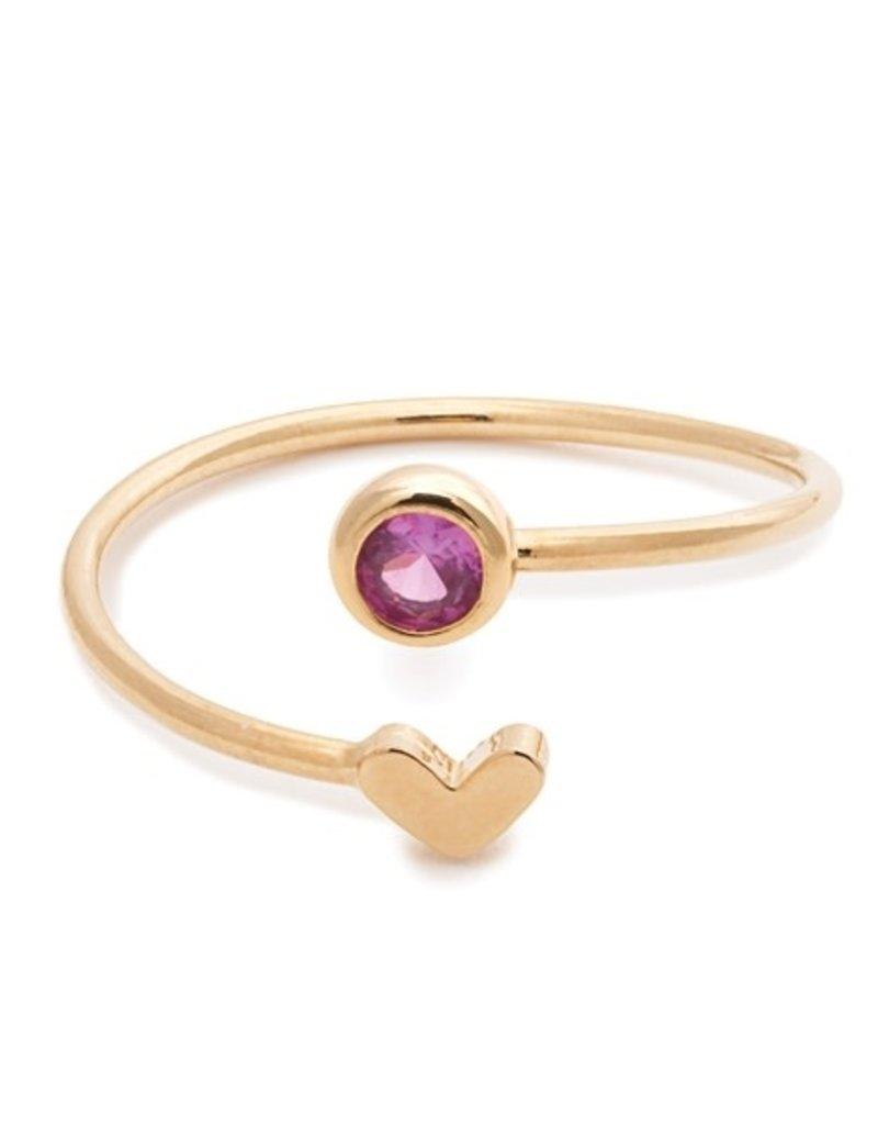32186 gold heart rose birthstone ring - october