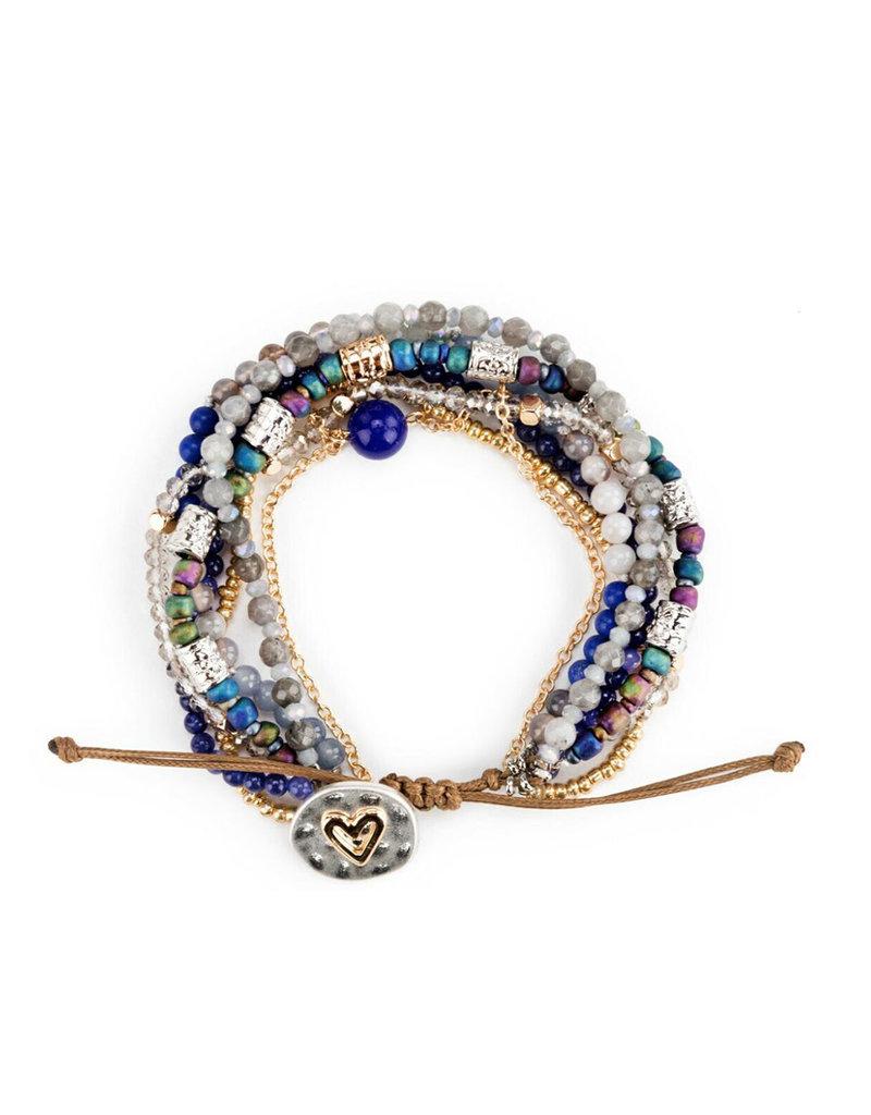 DEMDACO Beaded Love Bracelet - Indigo - Jewelry