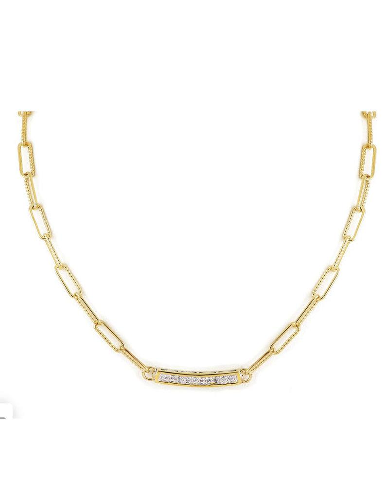 "JOHN MEDEIROS N5333-GF03 Diamanté Necklace Link PAVÉ Bar 16-18"" Gold"