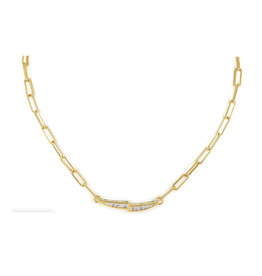 "JOHN MEDEIROS N5335-GF03 Diamanté Necklace Link PAVÉ Duel Bar 16-18"" Gold"