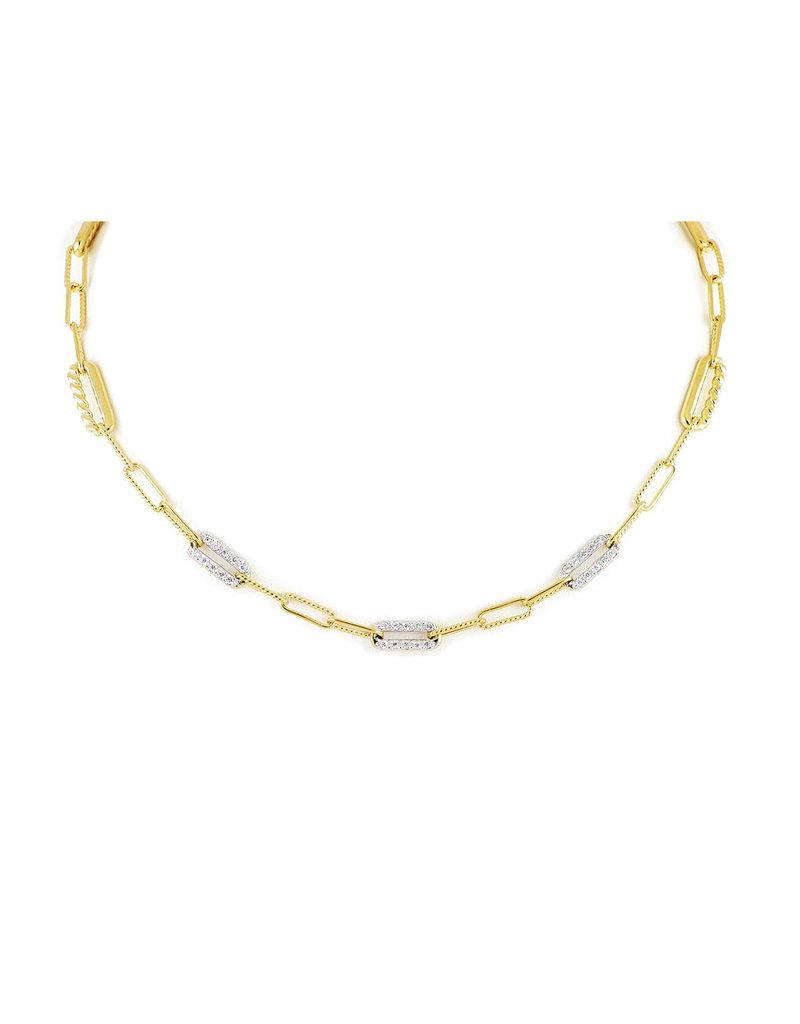 "JOHN MEDEIROS N5357-GF04 Diamanté Necklace Three Station PAVÉ 16-18"" Gold"