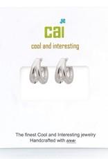 32299 silver plain smooth split huggie earrings