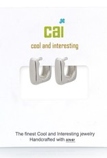 32301 Silver Plain Smooth Square Huggie Earrings