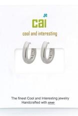 32303 silver plain smooth oval huggie earrings