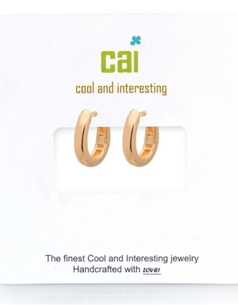 32304 gold plain smooth oval huggie earrings