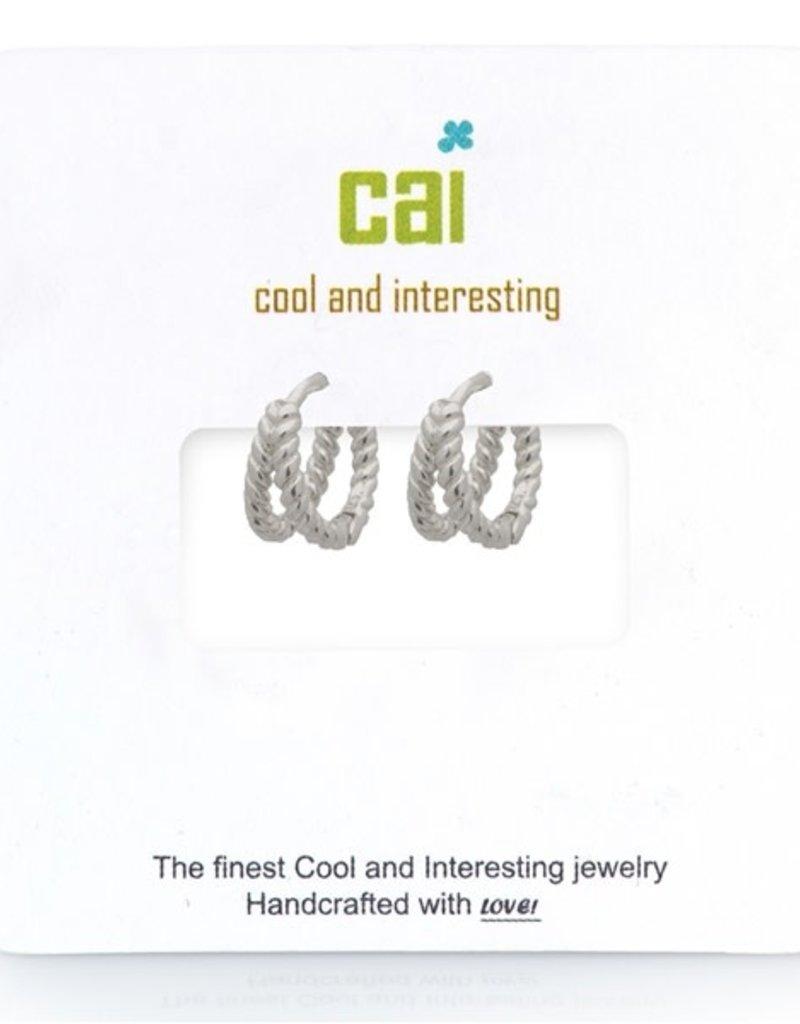 32309 silver plain split twisted huggie earrings